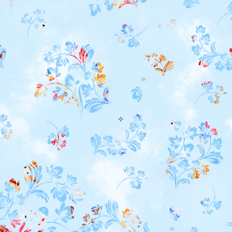 IN STOCK - Alice Blue Floral - WOVEN COTTON