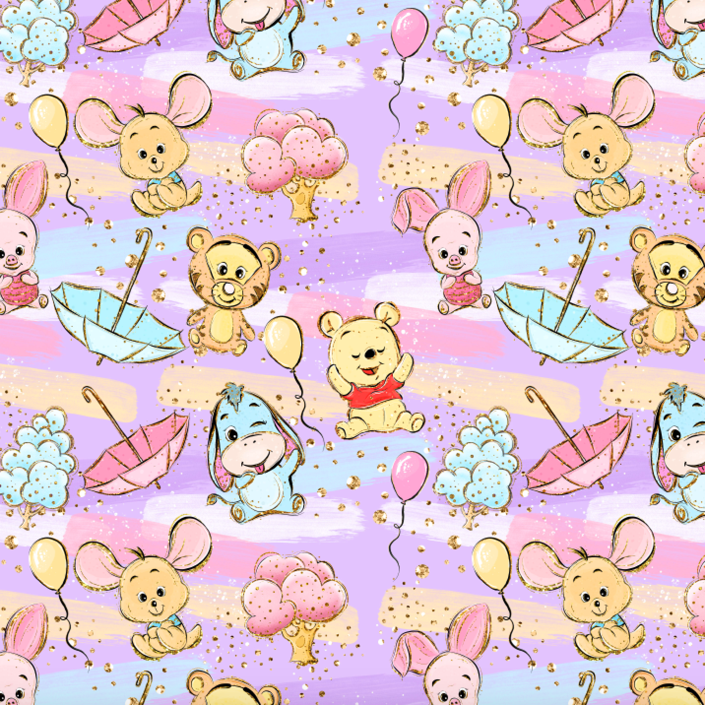 PRE ORDER - Winnie & Friends Scattered Purple - Digital Fabric Print