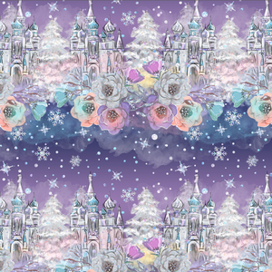 PRE ORDER - Frozen Unicorn Castles - Digital Fabric Print