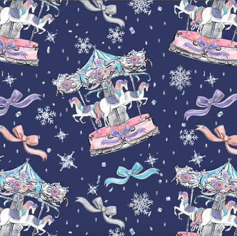 PRE ORDER - Frozen Unicorn Carousel - Digital Fabric Print