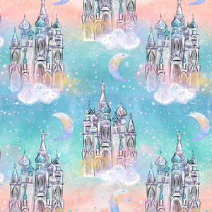 PRE ORDER - Frozen Unicorn Castles Light Blue - Digital Fabric Print