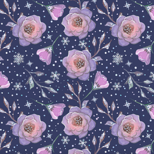 PRE ORDER - Frozen Unicorn Navy Floral - Digital Fabric Print