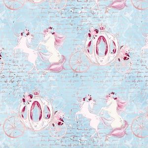 IN STOCK - Christmas Unicorns Main Blue - Digital Fabric Print