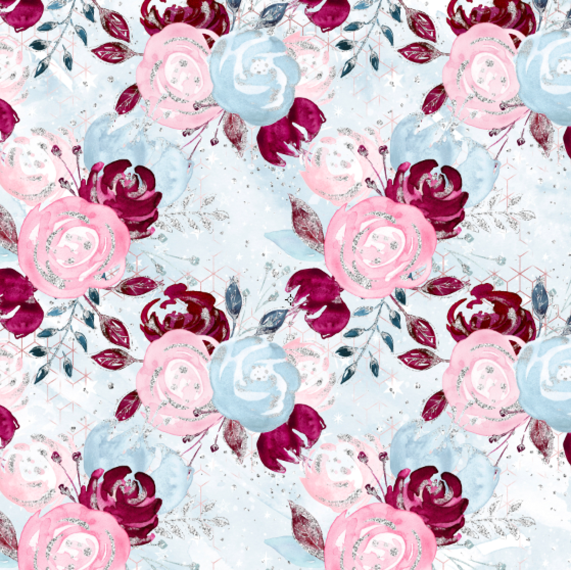 PRE ORDER - Christmas Unicorns Blue Floral - Digital Fabric Print