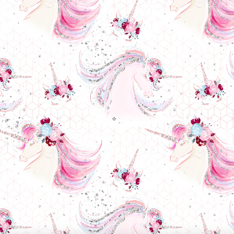 PRE ORDER - Christmas Unicorn Heads White - Digital Fabric Print