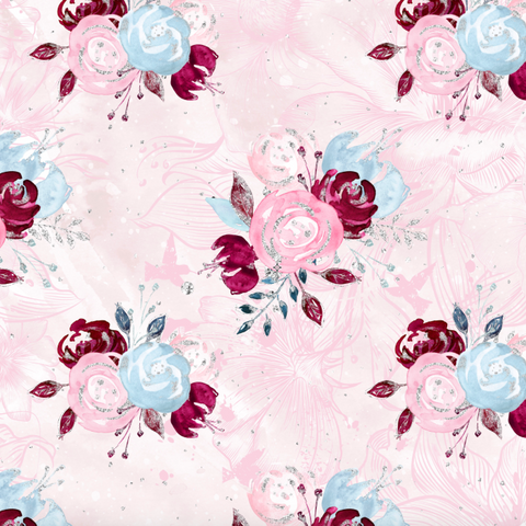 PRE ORDER - Christmas Unicorn Florals Pink - Digital Fabric Print