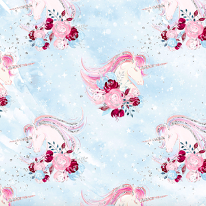 IN STOCK - Christmas Unicorn Heads Blue - Digital Fabric Print