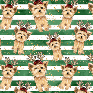 IN STOCK - Puppy Christmas Stripes - Digital Fabric Print