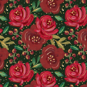 PRE ORDER - Red Gold Christmas Florals - Digital Fabric Print