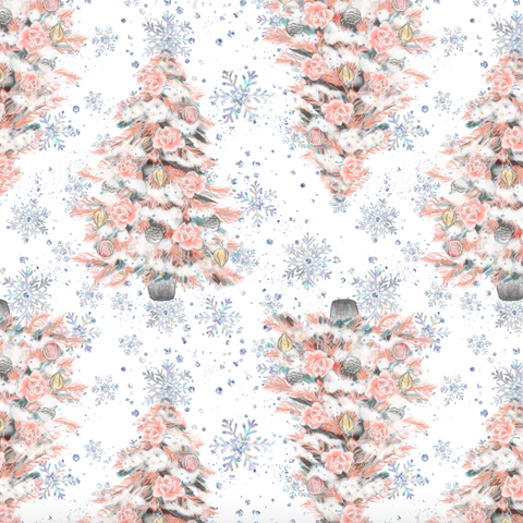 IN STOCK - Nutcracker Christmas Trees White - Digital Fabric Print