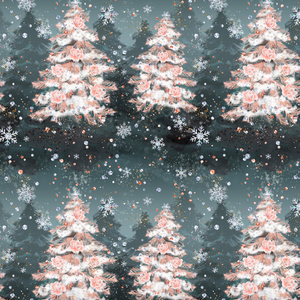 PRE ORDER - Nutcracker Christmas Trees Grey - Digital Fabric Print