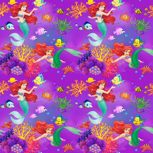 PRE ORDER - Little Mermaid Ariel Purple - Digital Fabric Print
