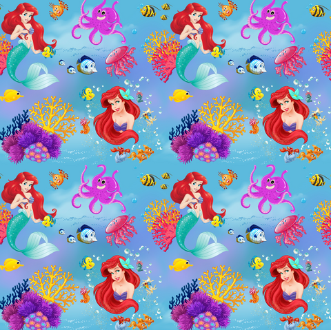 PRE ORDER - Little Mermaid Ariel Blue - Digital Fabric Print