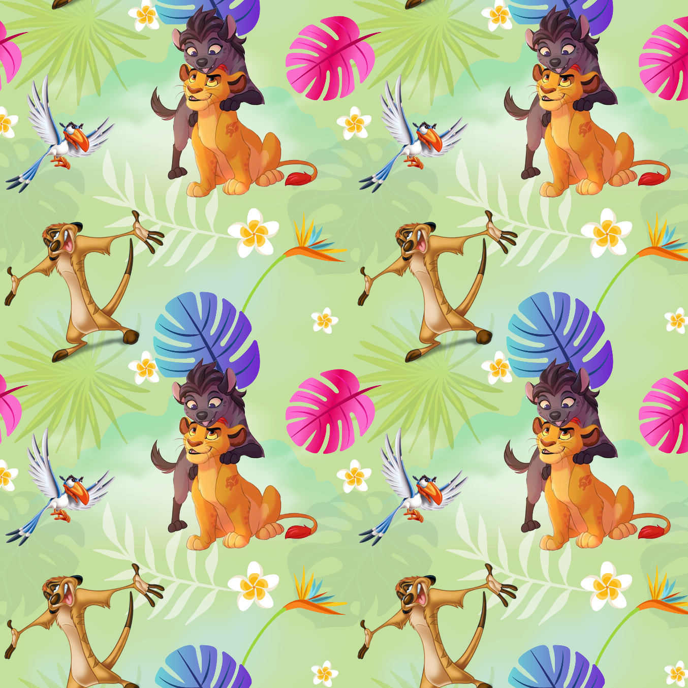 PRE ORDER - Lion King Light Green - Digital Fabric Print