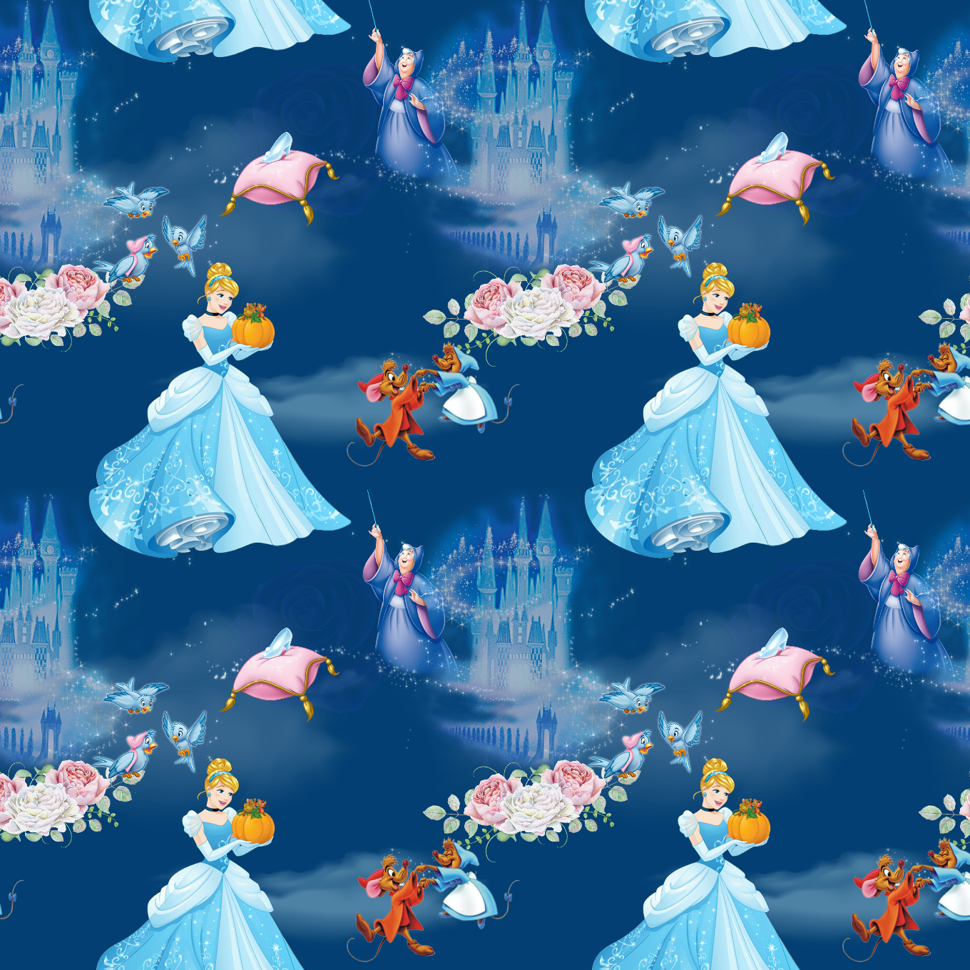 PRE ORDER - Cinderella Dark Blue - Digital Fabric Print