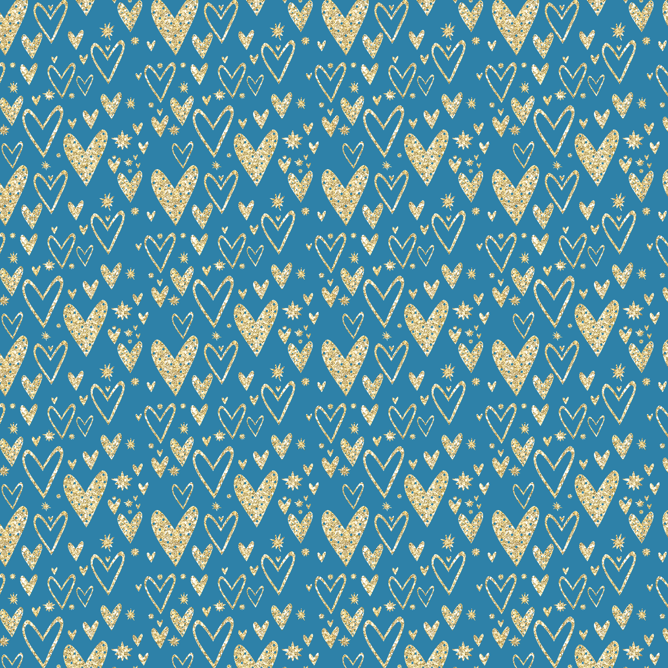 IN STOCK - Cinderella Blue Hearts - Digital Fabric Print