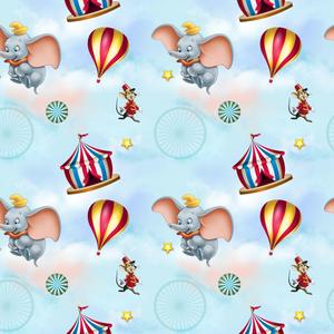 IN STOCK - Dumbo Light Blue - Digital Fabric Print