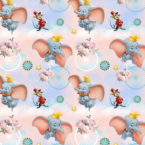 IN STOCK - Dumbo Pink - Digital Fabric Print