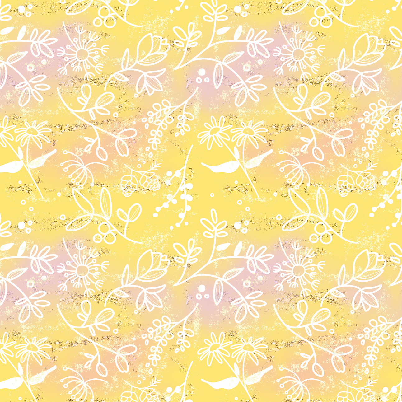 PRE ORDER -  Tangled Yellow Floral - Digital Fabric Print