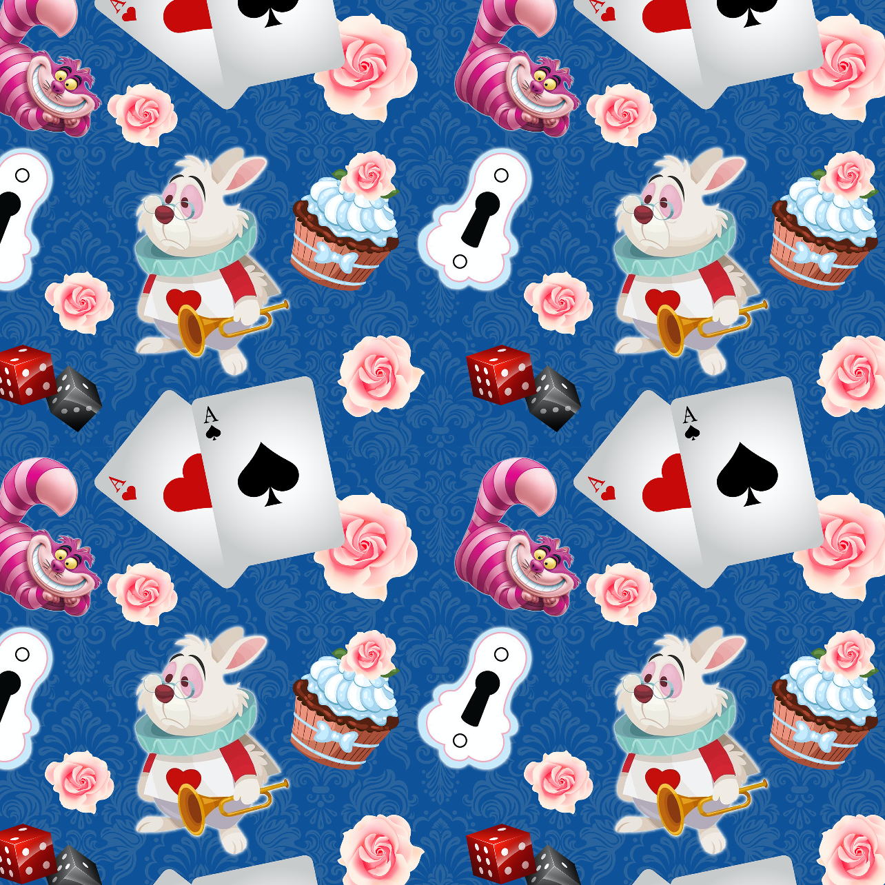 PRE ORDER - Wonderland Dark Blue - Digital Fabric Print