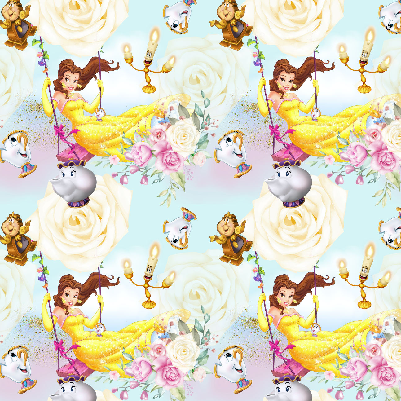 PRE ORDER - Belle Blue Swing - Digital Fabric Print