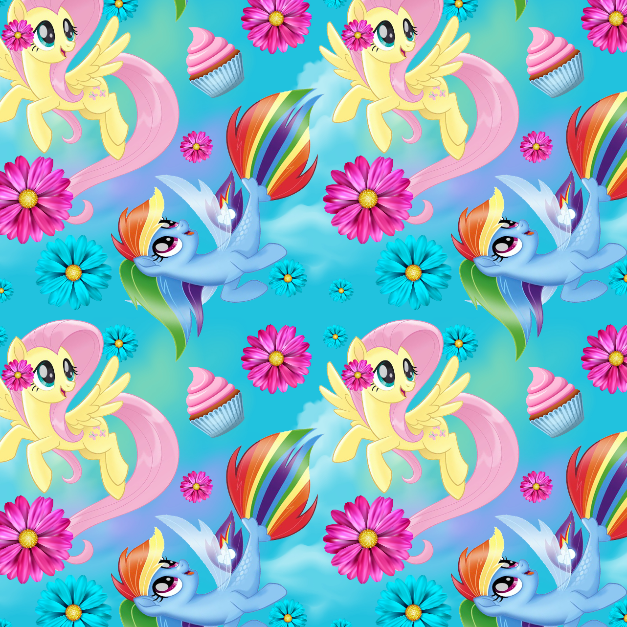 PRE ORDER - My Little Pony Aqua - Digital Fabric Print