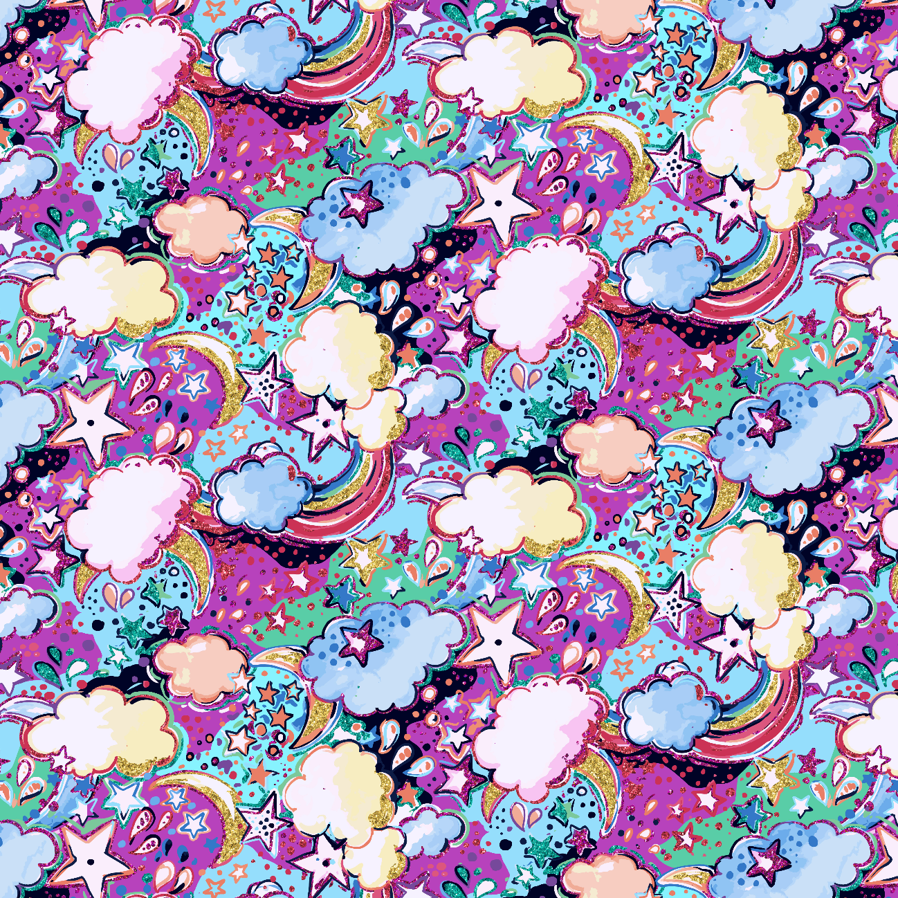 PRE ORDER - Enchanted Land Light Clouds - Digital Fabric Print
