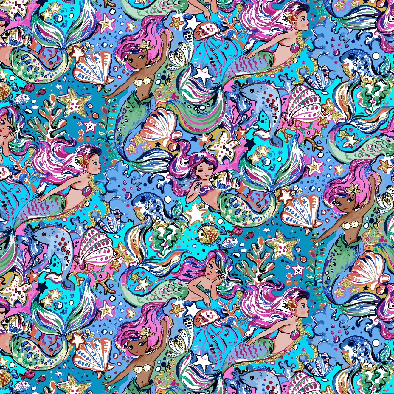 PRE ORDER - Enchanted Land Mermaids - Digital Fabric Print