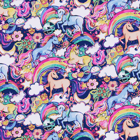 PRE ORDER - Enchanted Land Unicorns Blue - Digital Fabric Print