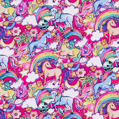 PRE ORDER - Enchanted Land Unicorns Pink - Digital Fabric Print