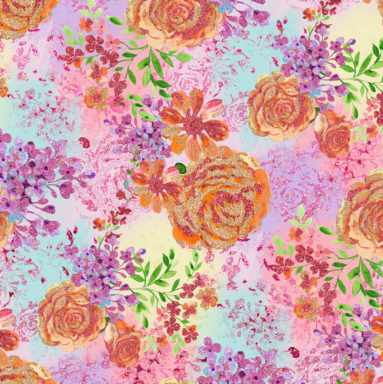 PRE ORDER - Unicorn Garden Light Floral - Digital Fabric Print