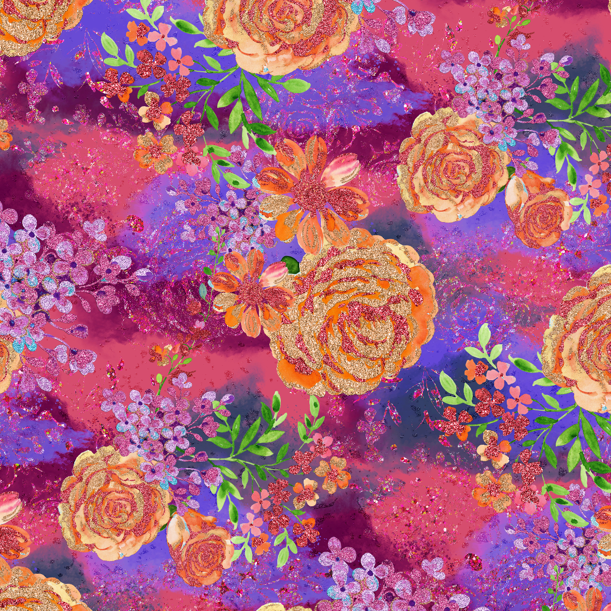 PRE ORDER - Unicorn Garden Dark Floral - Digital Fabric Print