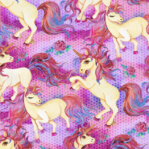 PRE ORDER - Unicorn Garden Dark Dots - Digital Fabric Print