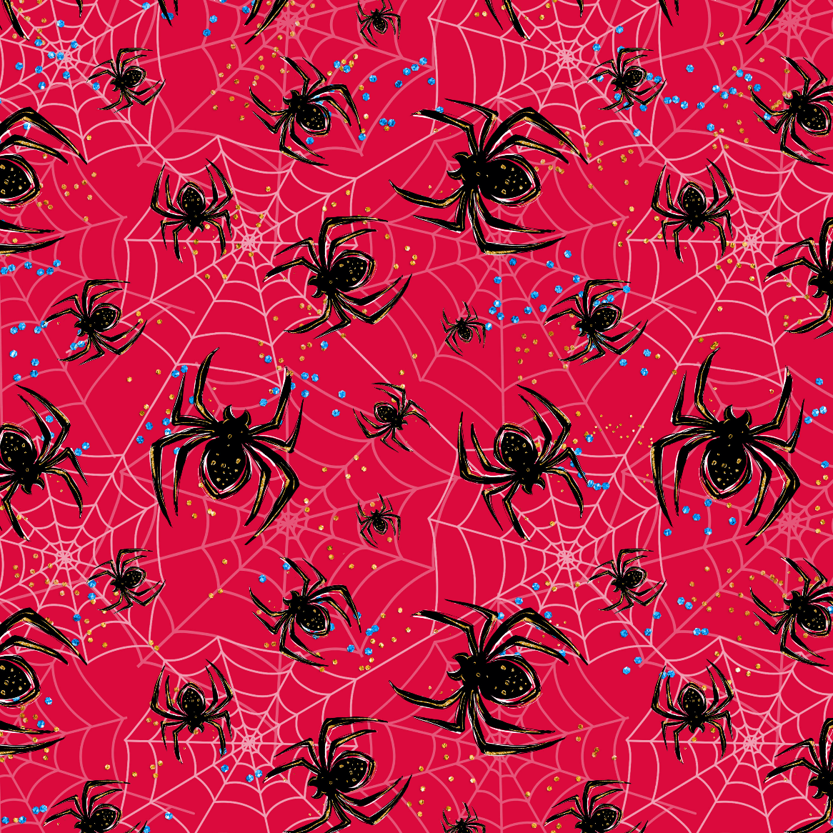 PRE ORDER - Superhero Red Spiders - Digital Fabric Print