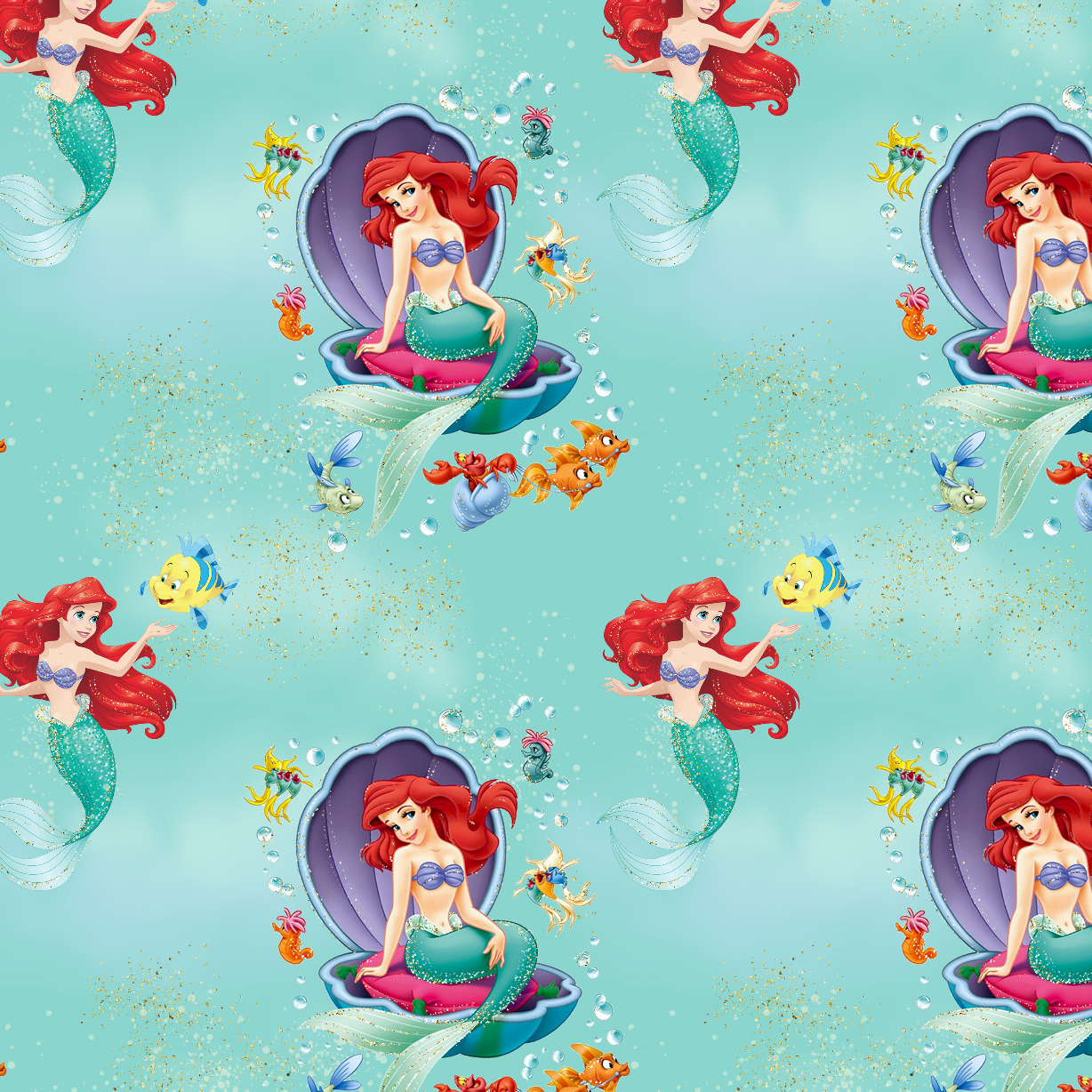 PRE ORDER - Whole new world Ariel Mint - Digital Fabric Print