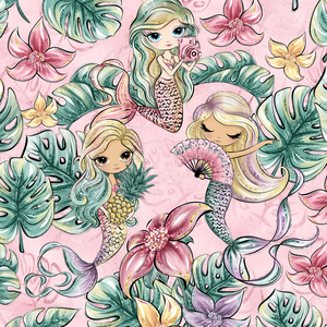PRE ORDER - Phantasia Pink Mermaids - Digital Fabric Print