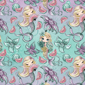 PRE ORDER - Phantasia Blue Mermaids - Digital Fabric Print