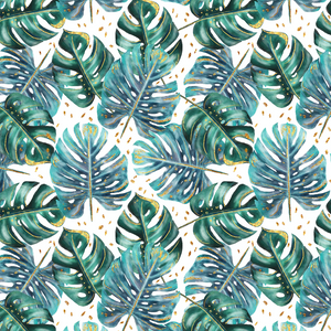 IN STOCK - Lush Tropics Leaves White - COTTON LYCRA