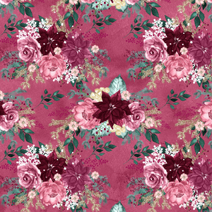 PRE ORDER - Christmas Florals Red - Digital Fabric Print