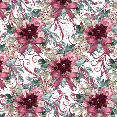 PRE ORDER - Christmas Florals White - Digital Fabric Print