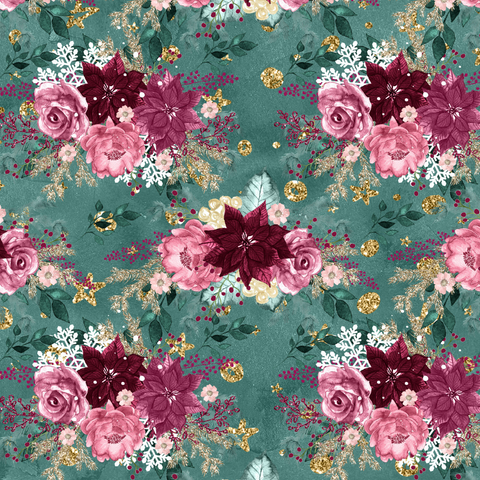 PRE ORDER - Christmas Florals Green - Digital Fabric Print