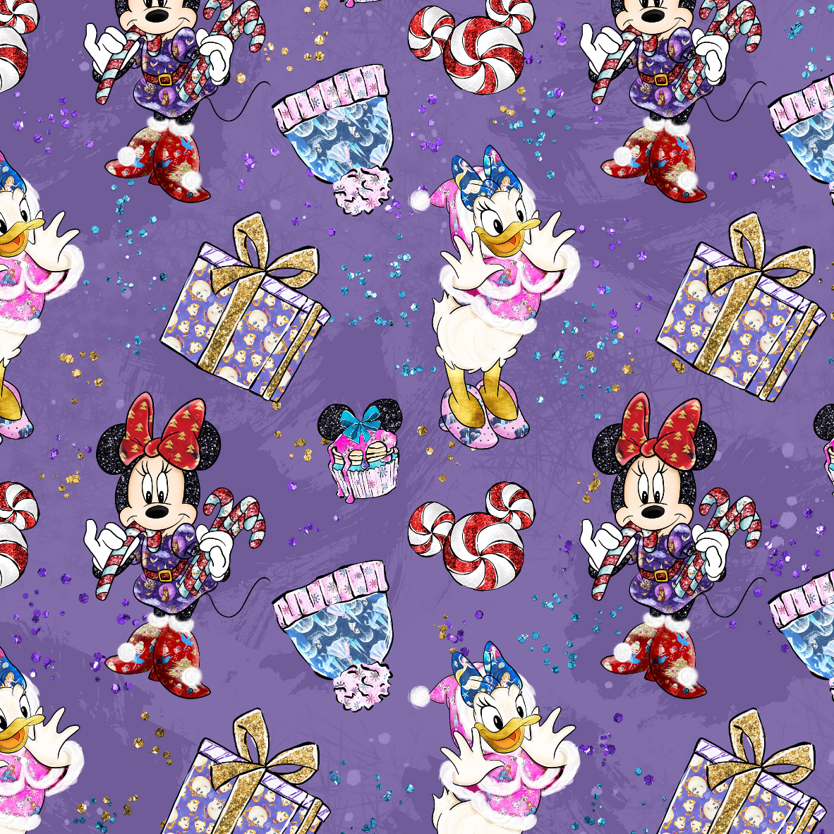 PRE ORDER - Mickeys Christmas Purple - Digital Fabric Print
