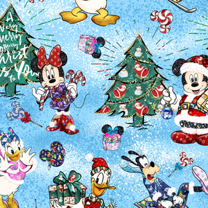 PRE ORDER - Mickeys Christmas Blue - Digital Fabric Print