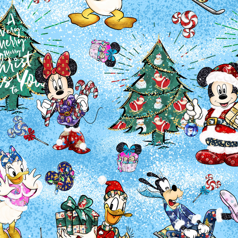 IN STOCK - Mickeys Christmas Blue - WOVEN COTTON
