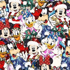 IN STOCK - Mickeys Christmas Scattered - WOVEN COTTON
