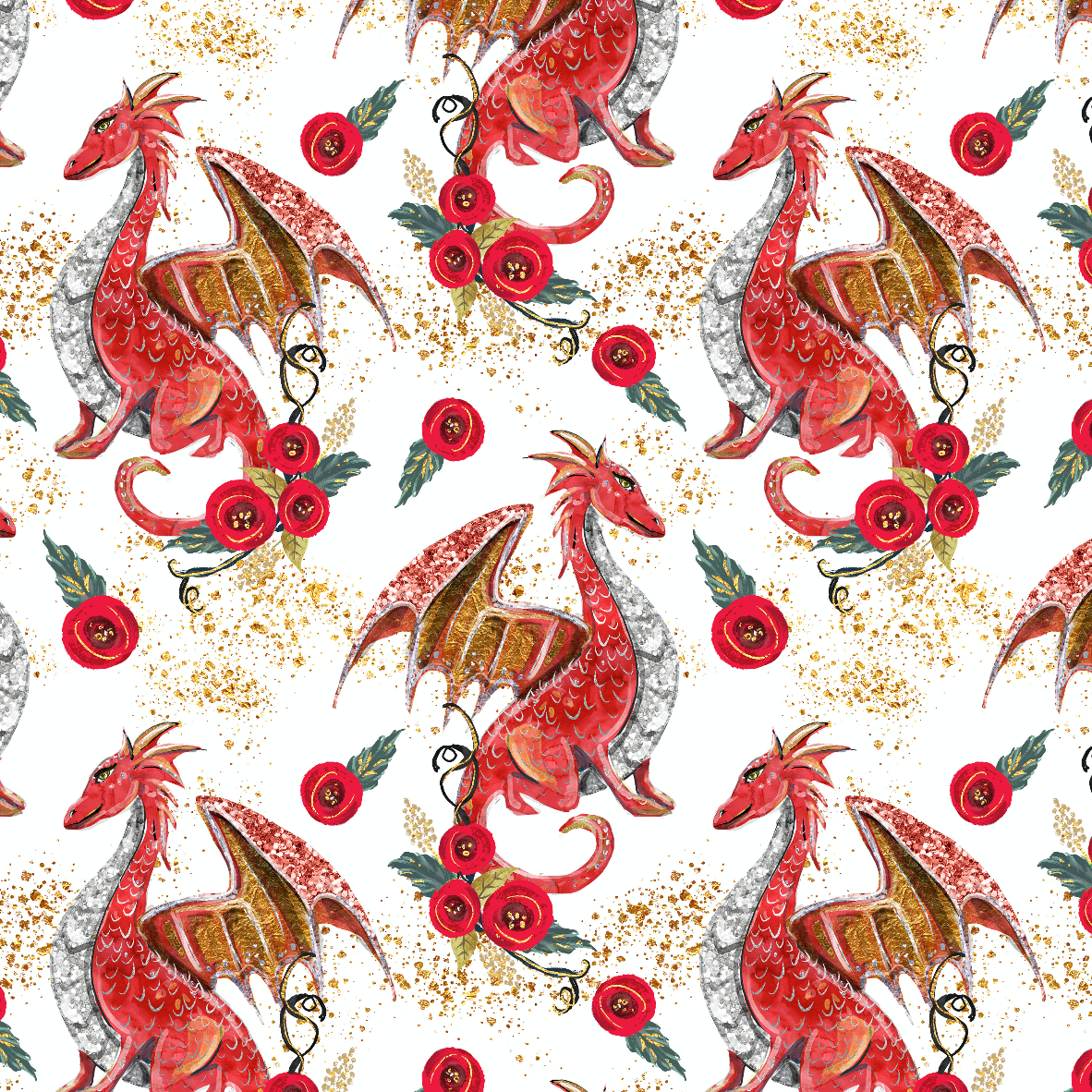 IN STOCK - Dragons Red - WOVEN COTTON