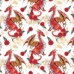 IN STOCK - Dragons Red - Digital Fabric Print