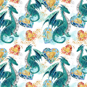PRE ORDER - Dragons Blue - Digital Fabric Print