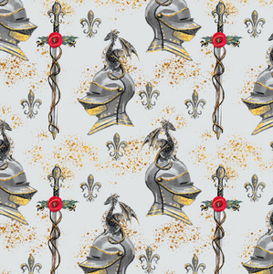 PRE ORDER - Dragon Knights Grey - Digital Fabric Print