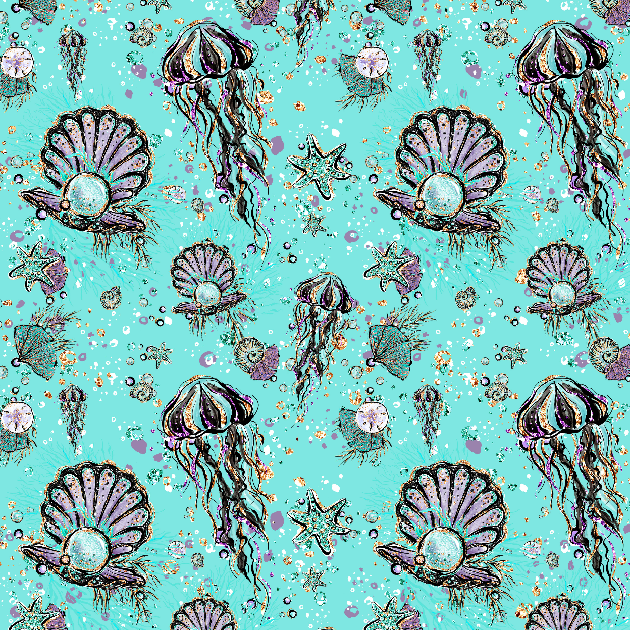 IN STOCK - Audrey Jelly Fish - Digital Fabric Print